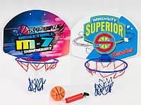 Баскетбольное кольцо, диам.23см, щит 40-30,5см, мяч 9см, насос, 2 вида, в кор-ке
