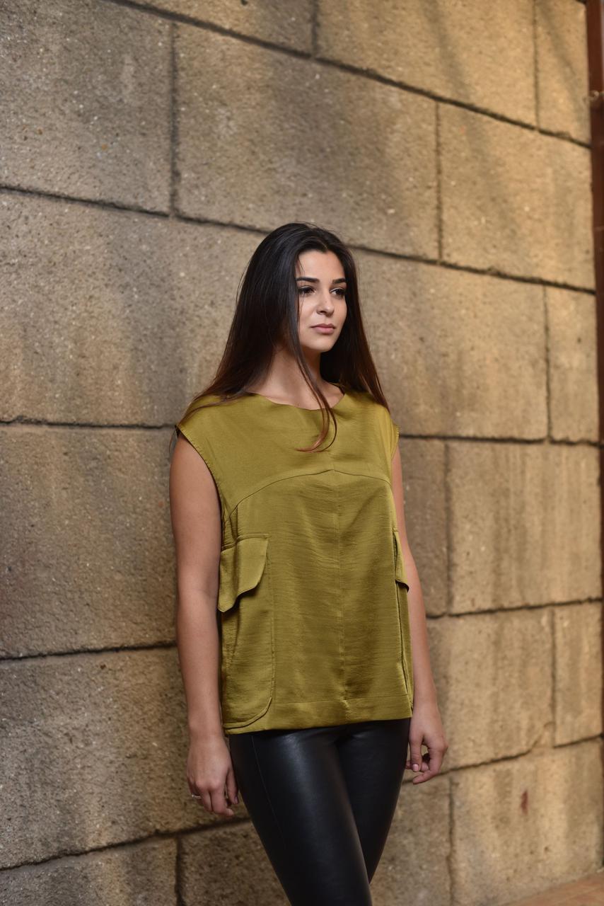 Блуза женская Софи оливкового цвета