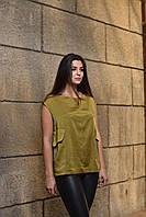 """Блуза женская оливковая """"Софи"""", дизайнерская модная одежда, Likey, Украина"""