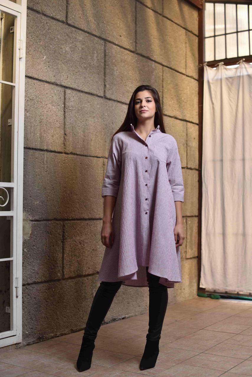 """Платье - туника из жатой ткани лилового цвета """"Каприз"""", дизайнерская модная одежда, Likey, Украина"""