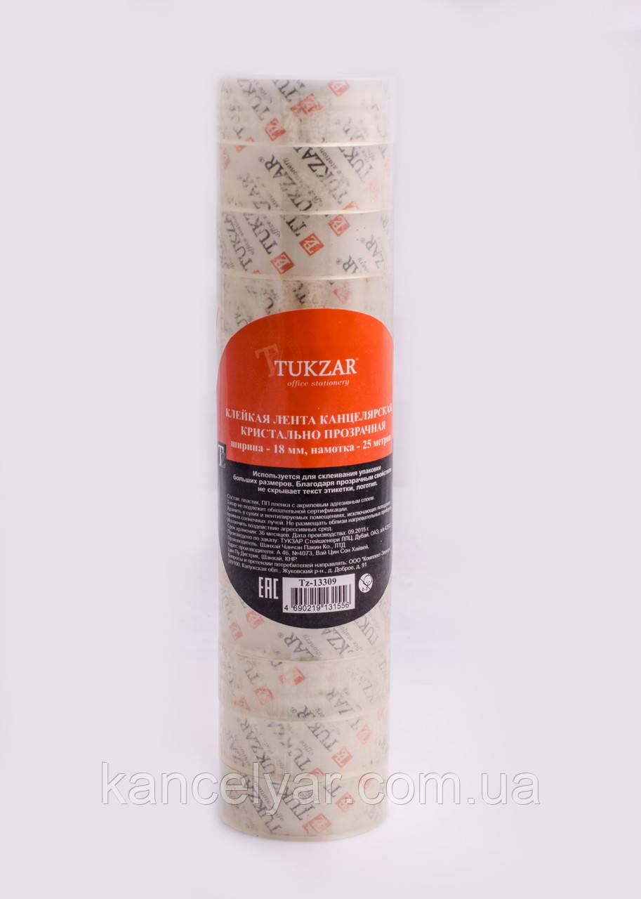 Скотч канцелярский прозрачный: 18 мм х 25 м, 12 шт. в упаковке