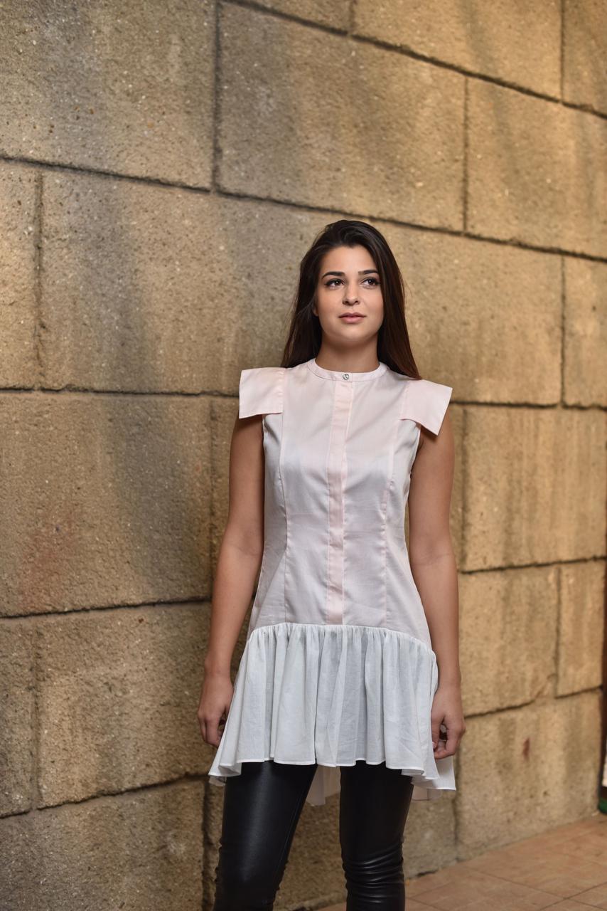 Женская блуза-туника Лорен бело-розового цвета