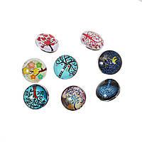 Кнопка Нуса, Стеклянные Газоплотный Круглый Кабошон, Случайно с узором, Древо жизни, прозрачный, 18 мм диаметр