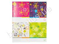 Тетрадь 12 листов клетка Твердая Цветочная (цена за упаковку 25шт)
