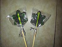 Новогодняя зеленая СНЕЖИНКА леденец на палочке 8 см