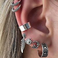 Набор серег (7 шт.) под черненное серебро для ушей., фото 1