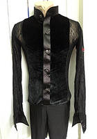 Комбидресс мужской, рубашка черная велюровая  с гипюром мужская для танцев Латина