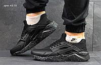 Черные мужские кроссовки Найк Хуарачи, Nike Air Huarache, кожаные