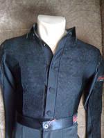 Комбидресс мужской, рубашка черная бифлекс  с гипюром мужская для танцев Латина