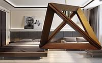 Люстра лофт из дерева Е27 треугольник НД-3
