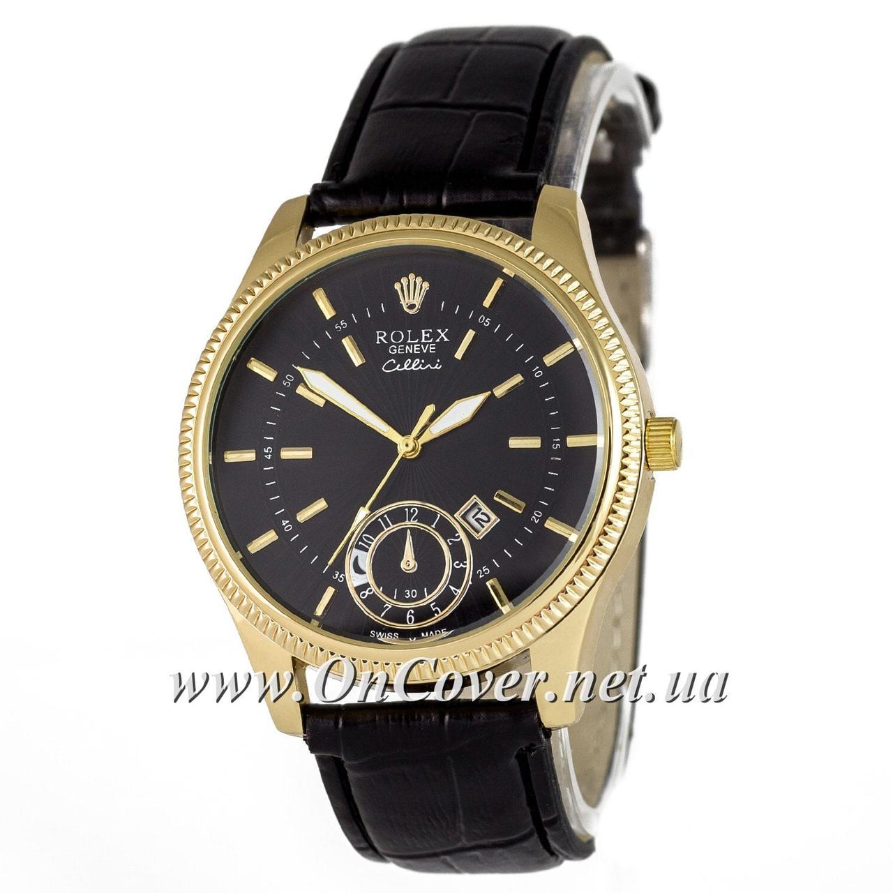 Наручные кварцевые часы Rolex Geneve Cellini Gold-Black 095625a33931d