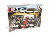 Конструктор SLUBAN авиация, аэропорт, самолет, фигурки, в коробке