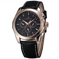 Механические наручные часы Forsining Elit rose gold+black