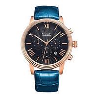 Наручные кварцевые часы Megir Chronometr Calendar синие с черным