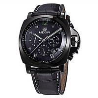 Наручные кварцевые часы Megir Chronometr Premium черные с черным