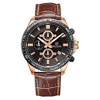 Наручные кварцевые часы Megir Chronometr Extra черные с коричневым
