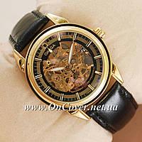Часы наручные механические Omega Gold/Black Classic Round