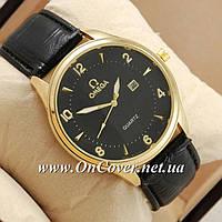 Часы наручные кварцевые Omega quartz Gold/Black