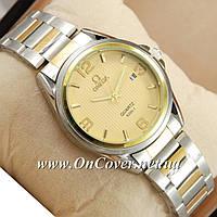 Часы наручные кварцевые Omega quartz 8266-1 Silver-gold/Gold
