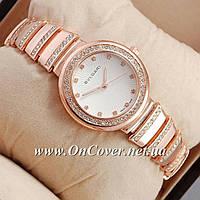 Женские наручные часы Bvlgari slim crystal Pink Gold/White