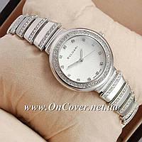 Женские наручные часы Bvlgari slim crystal Silver/White