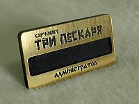 Пластиковый бейдж (золото, серебро) с окошком для вкладыша, 65х30 мм (Крепление: Булавка;  Цвет: Золото браш;)