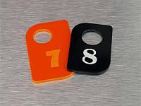 Номерок для ключей акриловый 40х60 мм, одностор. (Кольцо: Без кольца для ключей;  Заливка эмалью: 1 слой; Основание: Акрил металлик или перламутр;)