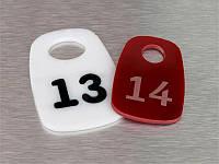 Номерки для ключей акриловые 40х60 мм, односторонние (Кольцо: Без кольца для ключей;  Заливка эмалью: 1 слой; Основание: Акрил металлик или