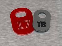 Номерки акриловые в гардероб 30х50 мм, односторонние (Кольцо: Без кольца для ключей;  Заливка эмалью: 1 слой; Основание: Акрил металлик или