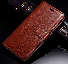 Кожаный чехол-книжка для Xiaomi Mi6 Mi 6 коричневый