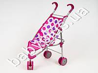 Кукольная коляска металлическая, прогулочная, ремни безоп, двой.колеса, в кульке