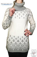 Женский свитер белый Peacocks удлиненный туника р. S 42 44