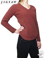 Теплый пуловер JigSaw р. S 42 шерстяной джемпер свитер бордовый женский