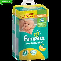 Подгузники Pampers New Baby-Dry Размер 2 (Mini) 3-6 кг, 144 подгузника