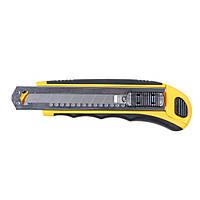 Нож Sigma пластик/резина корпус лезвие 8шт 18мм автоматический замок (8211121)
