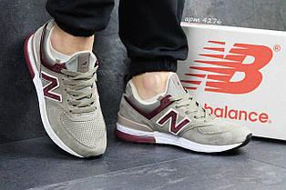 Чоловічі кросівки New Balance 574 замшеві бежеві з бордовим 44р