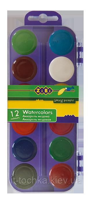 Акварельные краски zibi zb.6521-07 на 12 цветов в пластиком футляре