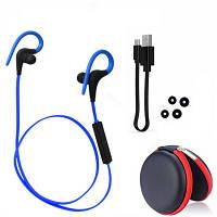 Наушники Bluetooth влагоустойчивые с микрофоном для спорта футляр с LG-BH-Q10 blue , фото 1