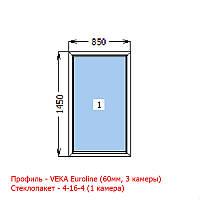 Окно металлопластиковое 850х1450 глухое VEKA (60мм)