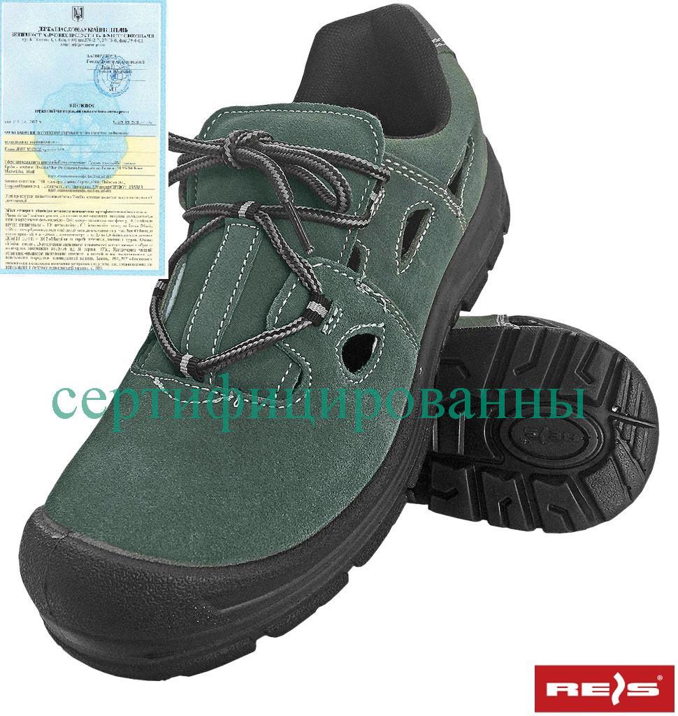 Сандали рабочие с металлическим подноском кожаные REIS Польша (обувь защитная) BRALACE-S1 ZB