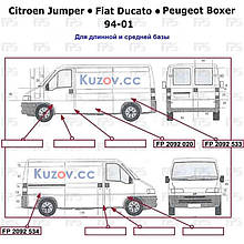 Арка заднего крыла Citroen Jumper, Fiat Ducato, Peugeot Boxer 94-10 длинная база - левая