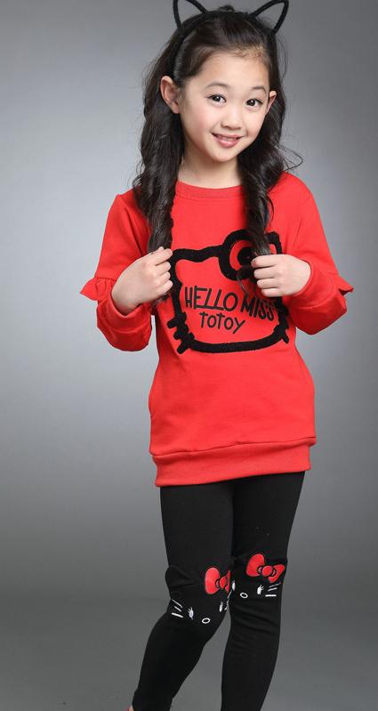 49f163c05f7203 Стильні, яскраві костюми Hello Kitty для дівчаток, весна/осінь -  Інтернет-магазин