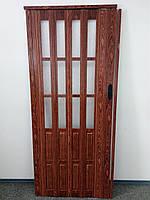 Дверь гармошка полуостекленная межкомнатная  черешня 7107, доставка по Украине, 860х2030х12мм