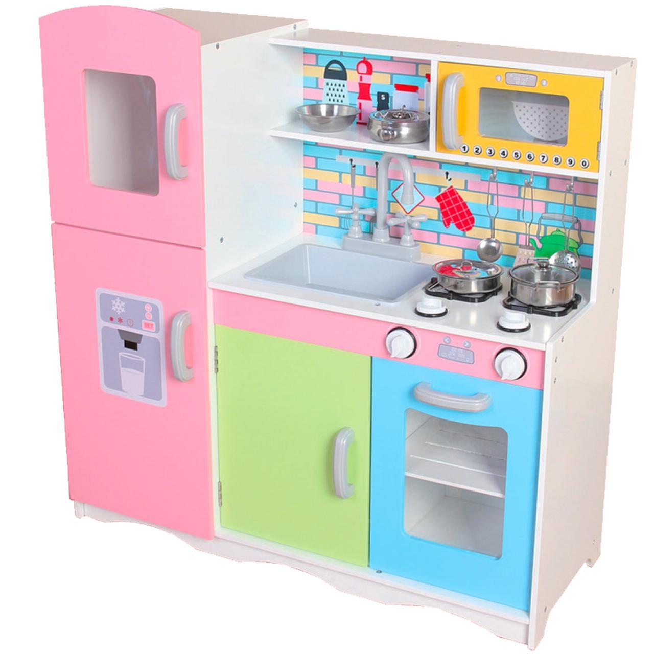 Дерев'яна кухня для дітей Ecotoys TK038 + набір посуду