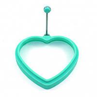 Формочка для яичницы в форме сердца 11х2 см. силиконовая , берюзовый
