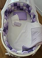"""Набор постельного белья """"Бисквитная мягкость"""" дизайнерский 6-в-1, бело-фиолетовый"""
