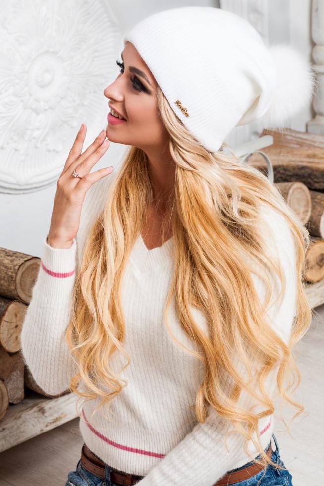 "Мила біла шапка з бомбоном Peper - Інтернет-магазин ""Fashion Frankivsk"" в Ивано-Франковске"