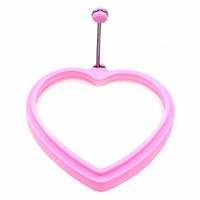 Формочка для яичницы в форме сердца 11х2 см. силиконовая , розовый