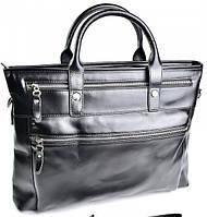 Кожаный портфель 8766 Black классический деловой портфель из натуральной кожи