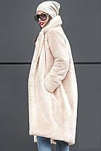 Женская шуба из искусственного меха кролика с отложным воротником цвета пудры, фото 3